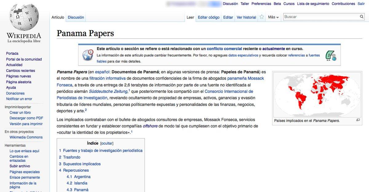 Artículo #PanamaPapers en @eswikipedia ha sido editado por 17 colaboradores 118 ocasiones  https://t.co/uDbmELoZPo https://t.co/KqlvA4yi3t