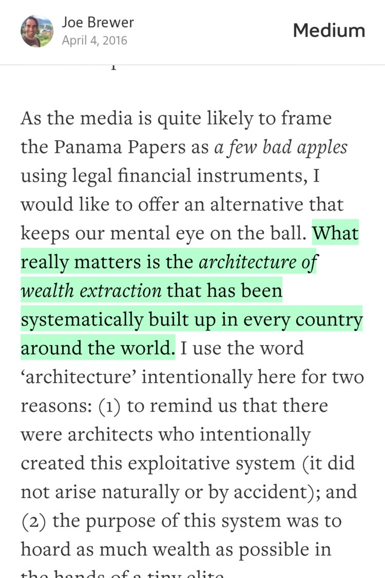 """""""What really matters is the architecture of wealth extraction that has been…""""—Joe Brewer https://t.co/TkUMJy6P37 https://t.co/KlJMUzO4jk"""
