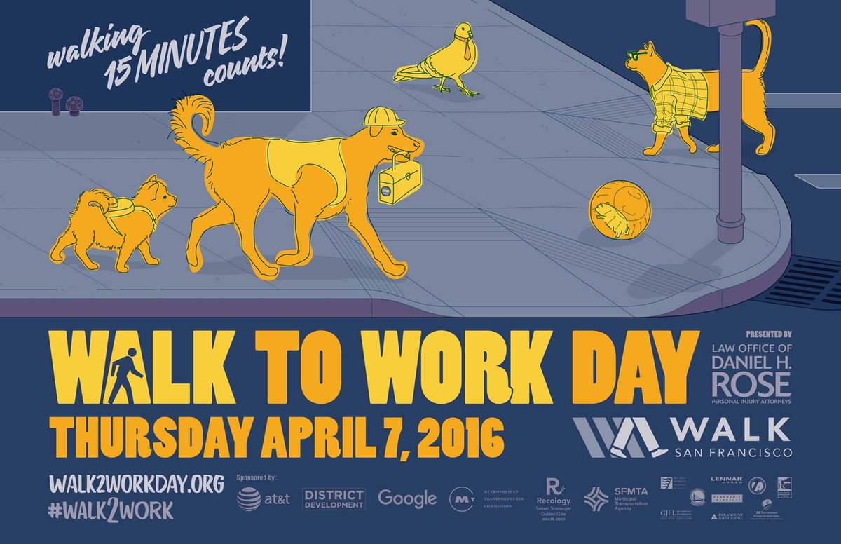 Thursday is #Walk2Work day! Join your friends & neighbors at a @walksf walking hub near you. https://t.co/0NavVVg3Vr https://t.co/TtVPZdLEWZ