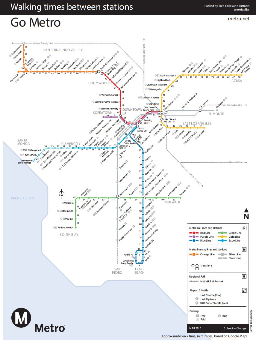 Fun new @TortiGallas Metro map shows walking distance between stations https://t.co/Vz1y8apLM0 https://t.co/Lx5twGTyMf