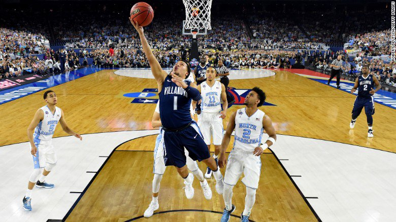 Villanova takes championship at buzzer in NCAA tournament with 77 – 74 victory over UNC.