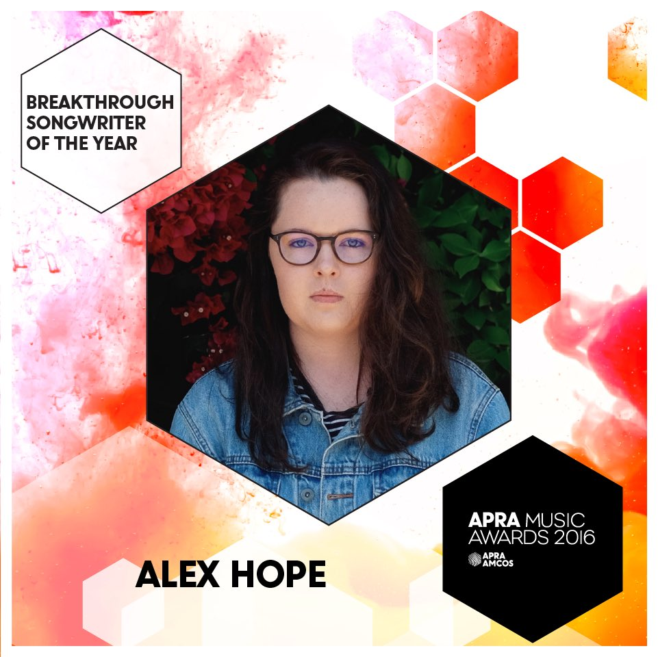 Breakthrough Songwriter of the Year: 22 year old @alexhopemusic who has worked w/ @troyesivan @jessicamauboy #APRAs https://t.co/Wf4X9LevwZ