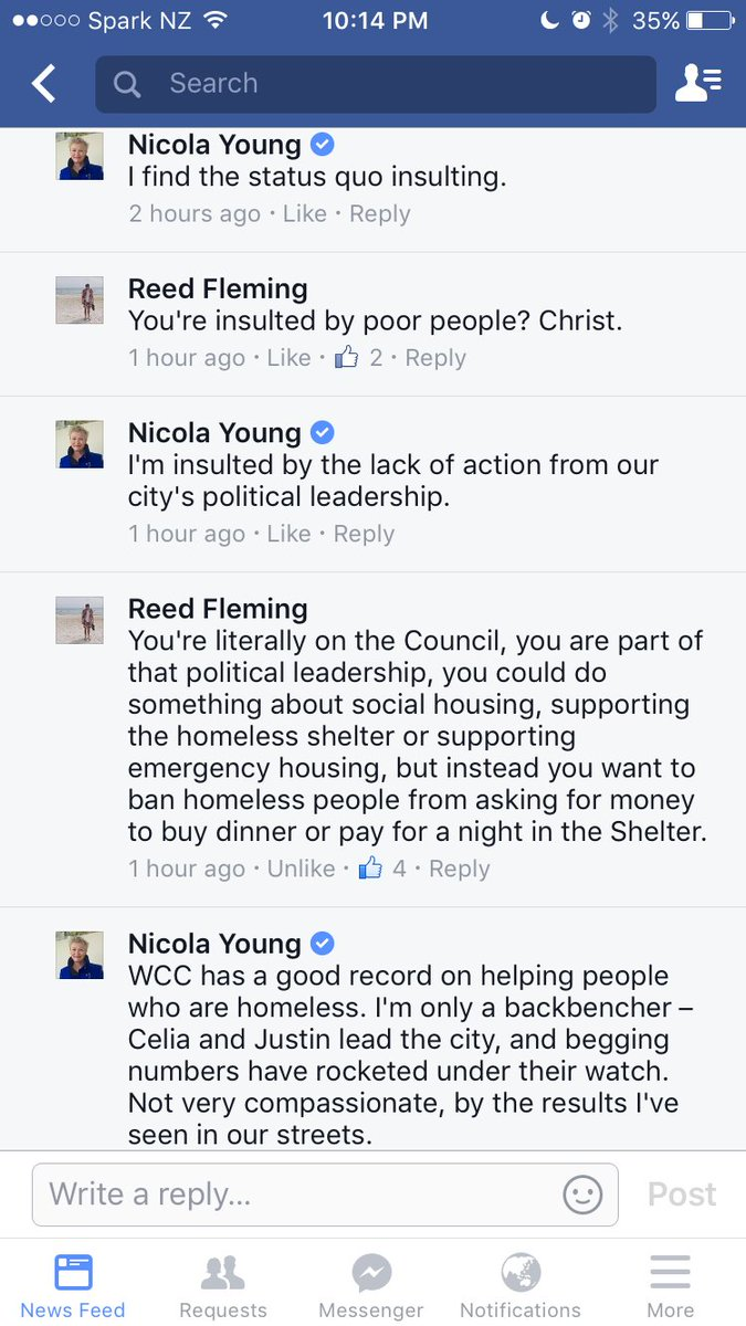 Cnr Nicola Young proposes banning begging from Wgtn cbd, gets told off spectacularly by expert @reedfleming https://t.co/wFPsOinEOt