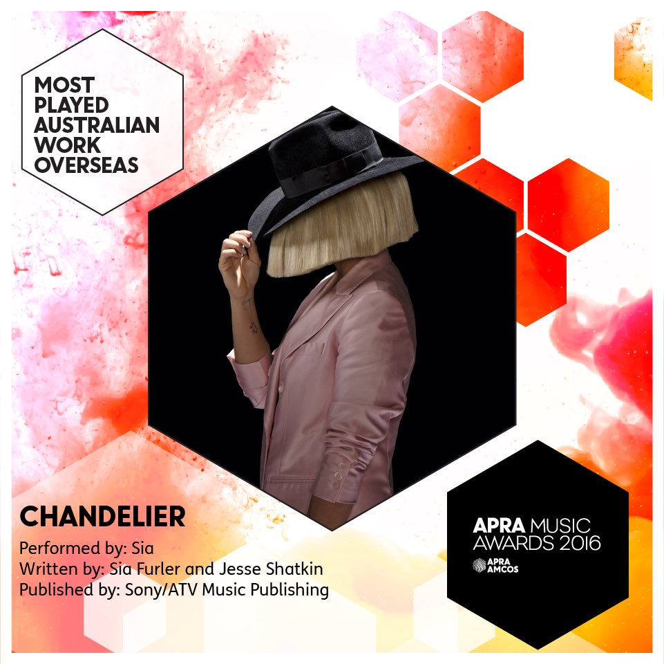 Last year's Song of the Year Chandelier by @Sia wins the Most Played Australian Work Overseas award #APRAs https://t.co/nDEe4sQ1Sx