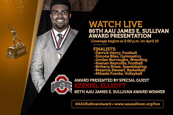 Tune in this Sunday for a live presentation of the 86th #AAUSullivanAward at https://t.co/WXGojcmU4G. #WeAreAAU https://t.co/puZQUt1kcx