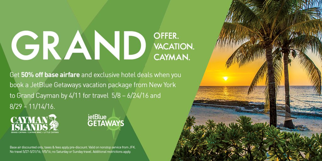 Isn't life grand? Get 50% off air w/ a JetBlueGetaways Grand Cayman vacay by 4/11.+Restr