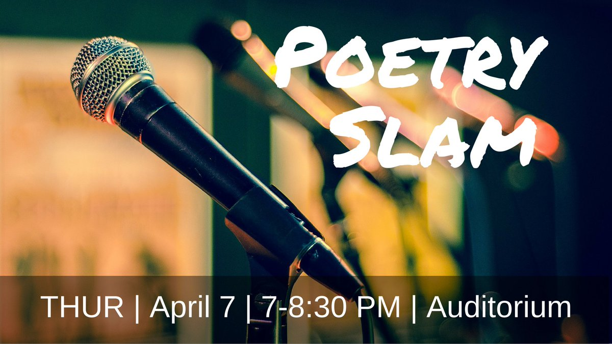 Come throw down some verse in our annual poetry slam for a chance to win prizes, including the infamous burritos. https://t.co/NQzFE5aO60