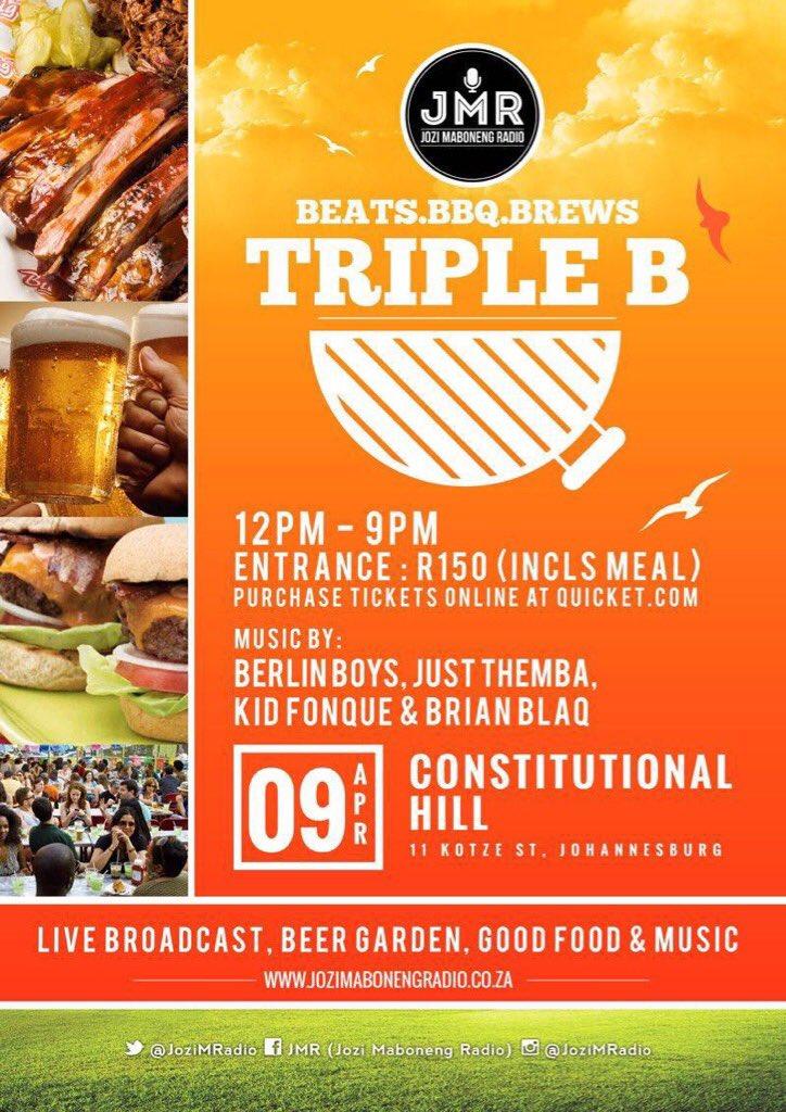 .@JoziMRadio invites you to the #TripleB ft @BrianBlaq @KidFonque + Team @SoundOfWeekend https://t.co/bCq6n1v4Cw