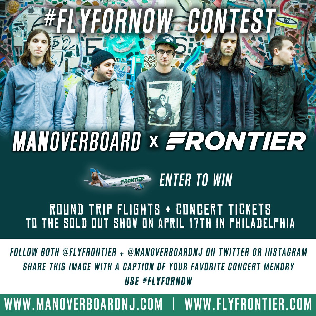 RT @ManOverboardNJ: We teamed up w/ @FlyFrontier to fly a fan to our sold out show in Philly. Info> flyfornow http…