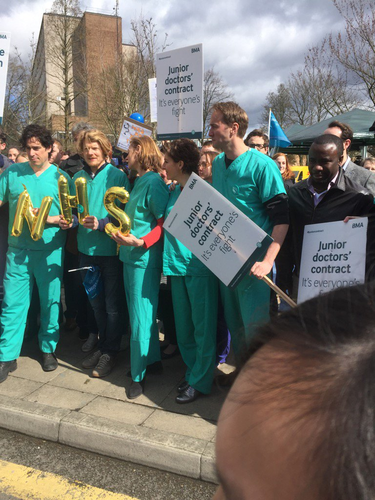 The cast of Green #Wing at Northwick Park Hospital supporting @JuniorDocStrike https://t.co/liLc1Mvgwm