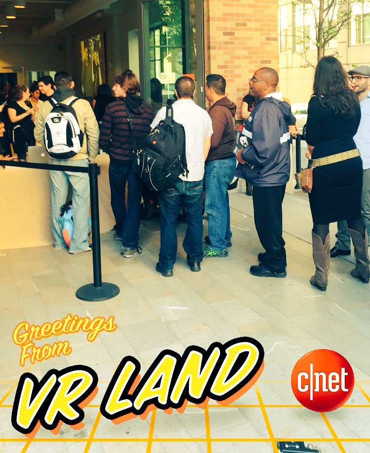They're lined up around the corner now for #CNETVRday! What have we done??? @cnet :) #VirtualReality https://t.co/O6uhWjtswp
