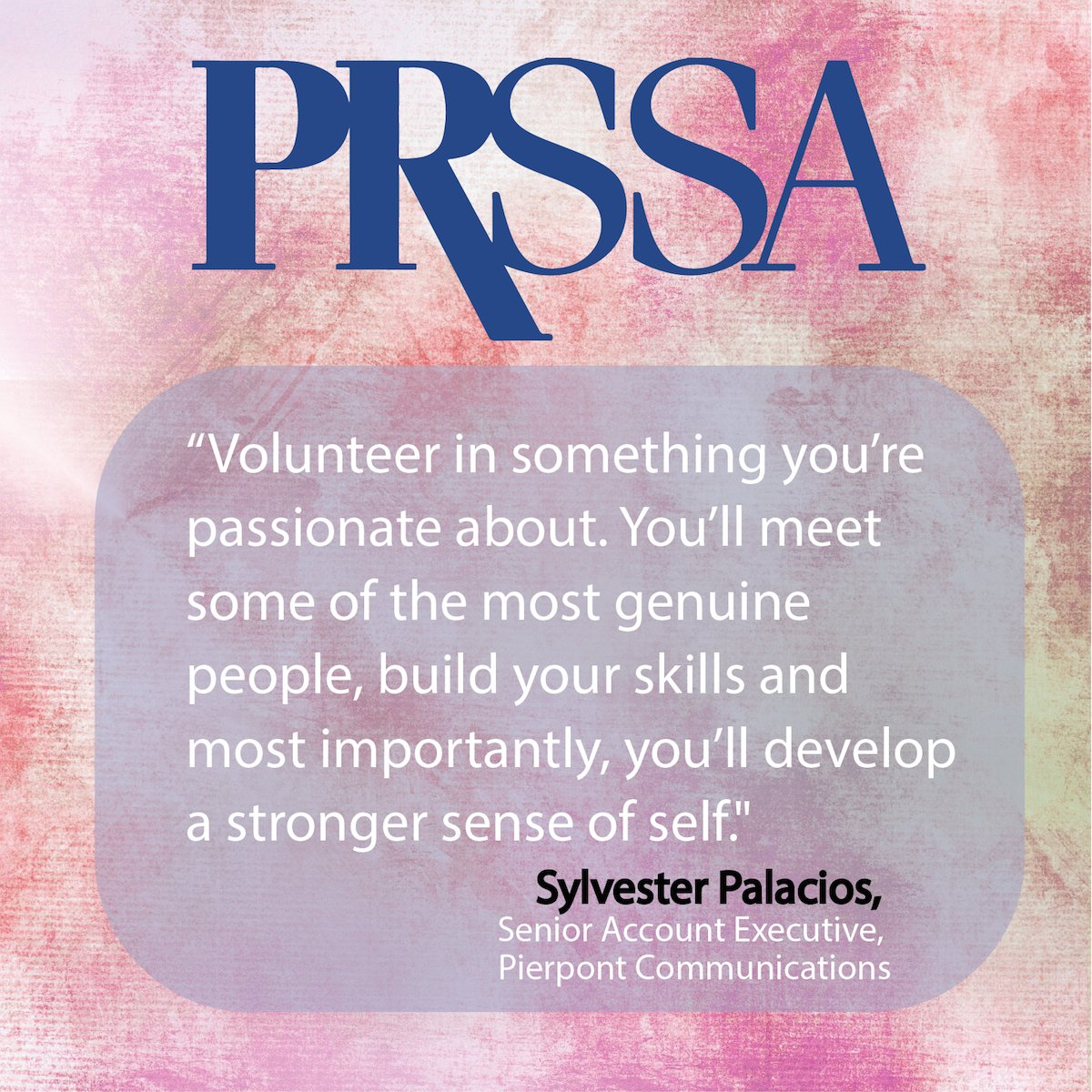 Develop your personal brand by volunteering for something you're passionate about. #PRSSA https://t.co/6DlDQlVUkK