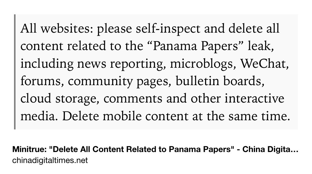 "A third censorship directive: ""Delete all content related to the '#PanamaPapers' leak …."" https://t.co/3B6JnCwGAj https://t.co/pk2ymtKuZa"