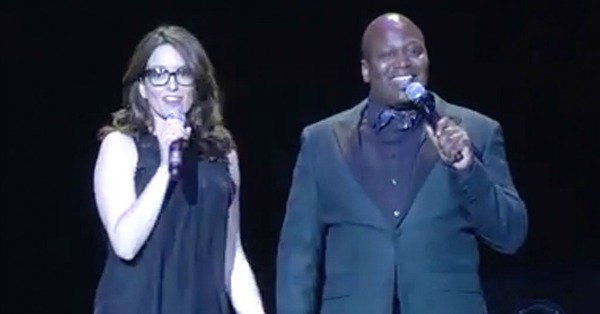 Talk about a good time! Tina Fey and Tituss Burgess took to the stage to insult each other: