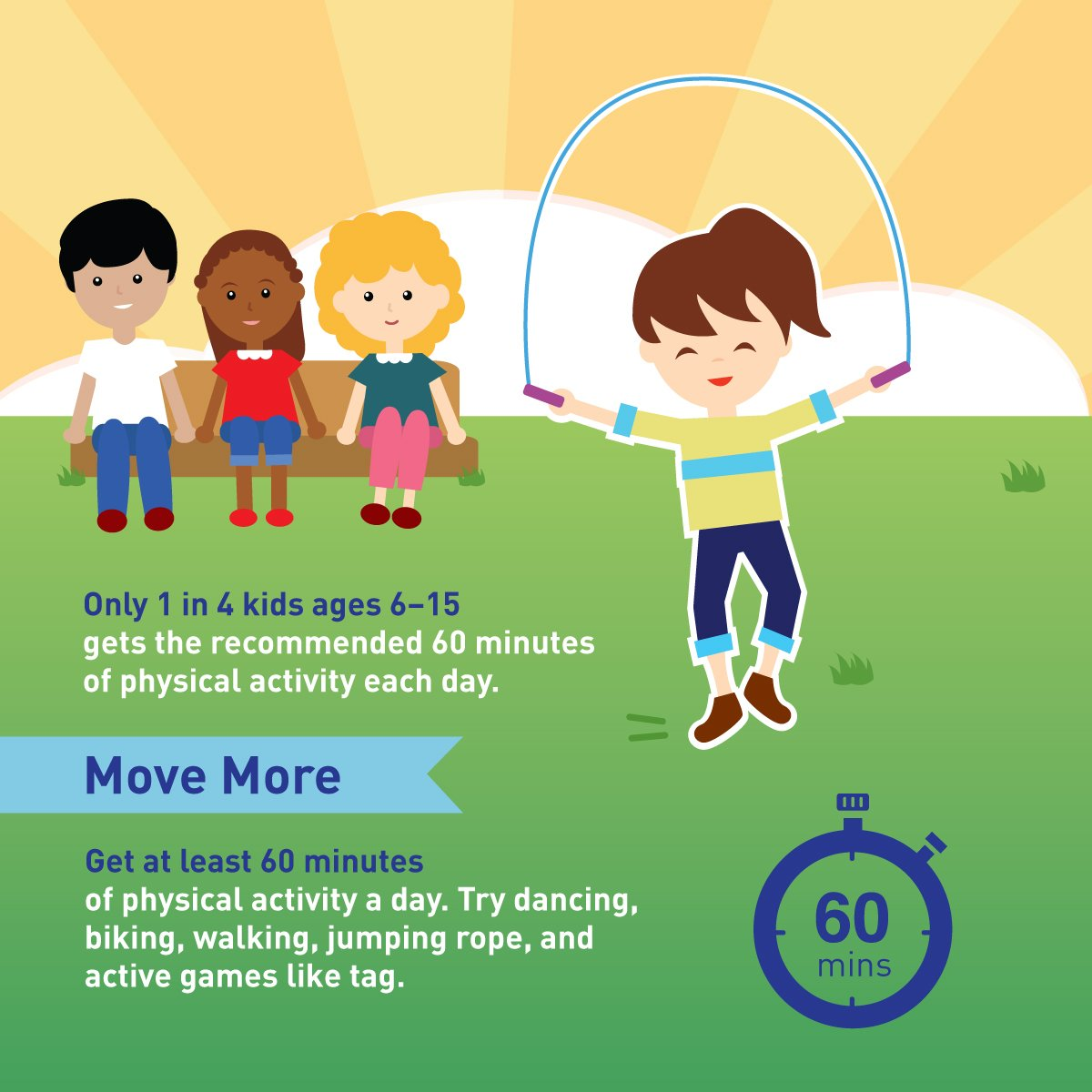 Move more. Sit less. Kids need at least 60 minutes of physical activity each day. #WorldHealthDay https://t.co/QZQtpPVpij