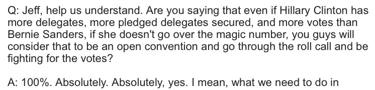 Sanders campaign pledges to contest the Convention even if Clinton wins the most votes and pledged delegates. https://t.co/NQboQCBtux