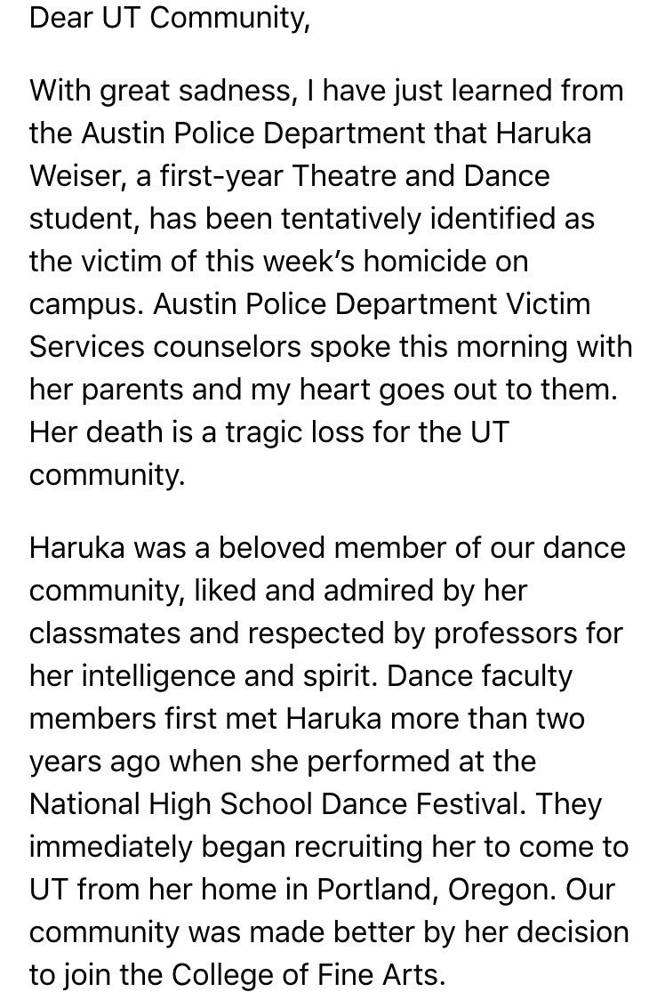 Breaking: homicide victim tentatively identified as UT student Haruka Weiser in email from @gregfenves. https://t.co/XASQ3leOeQ