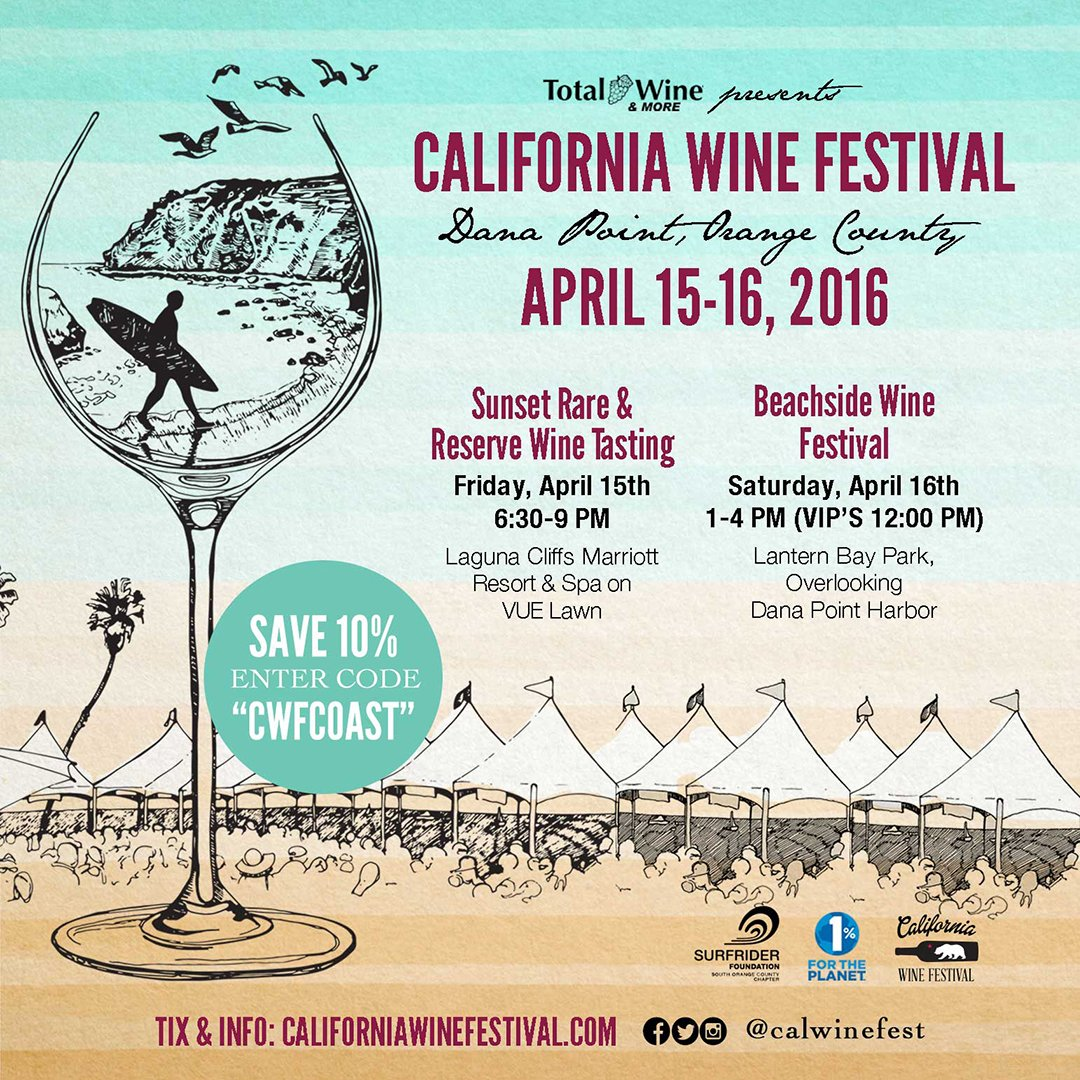 RT @FergusonCrest: We'll be pouring 4/16 at @CalWineFest in #DanaPoint. Take 10% OFF tix w/ #promocode CWFCOAST…https://t.co/TZNhR7rW6u htt…