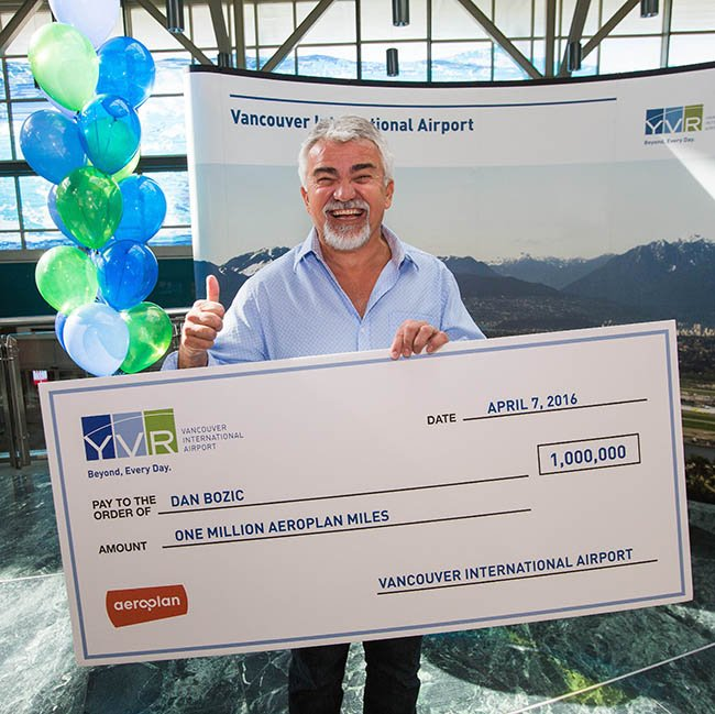 Congratulations Dan Bozic for winning YVR's Aeroplan Miles contest.