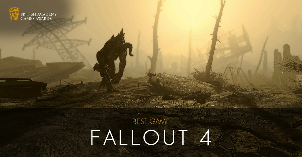 #BAFTAGames WINNER: Best Game - Fallout 4 https://t.co/Veri9zqaMk https://t.co/9YZknjVeyW
