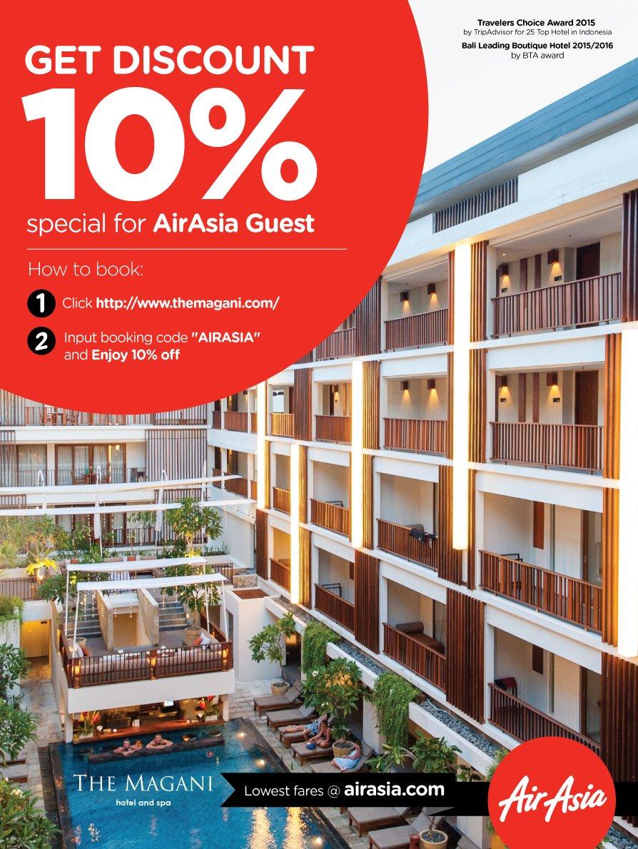 Ayo ke Bali weekend ini! Dapatkan Diskon 10% dari Magani Hotel dgn masukan kode AIRASIA di