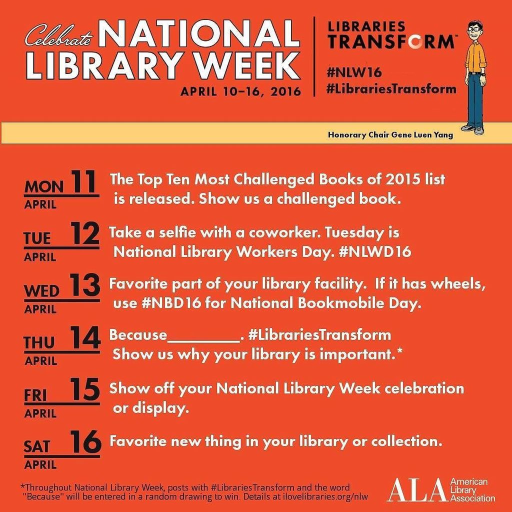 Next week is National Library Week, so we put together this special #LibrariesTransform  #photochallenge.  Also, al… https://t.co/ddjVU6a5eh
