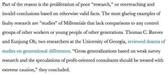 HBR has a refreshing take-no-prisoners debunking of the Millennial thought-piece industry:  https://t.co/Si4jJ2AB4g https://t.co/jN4FugQ9HK
