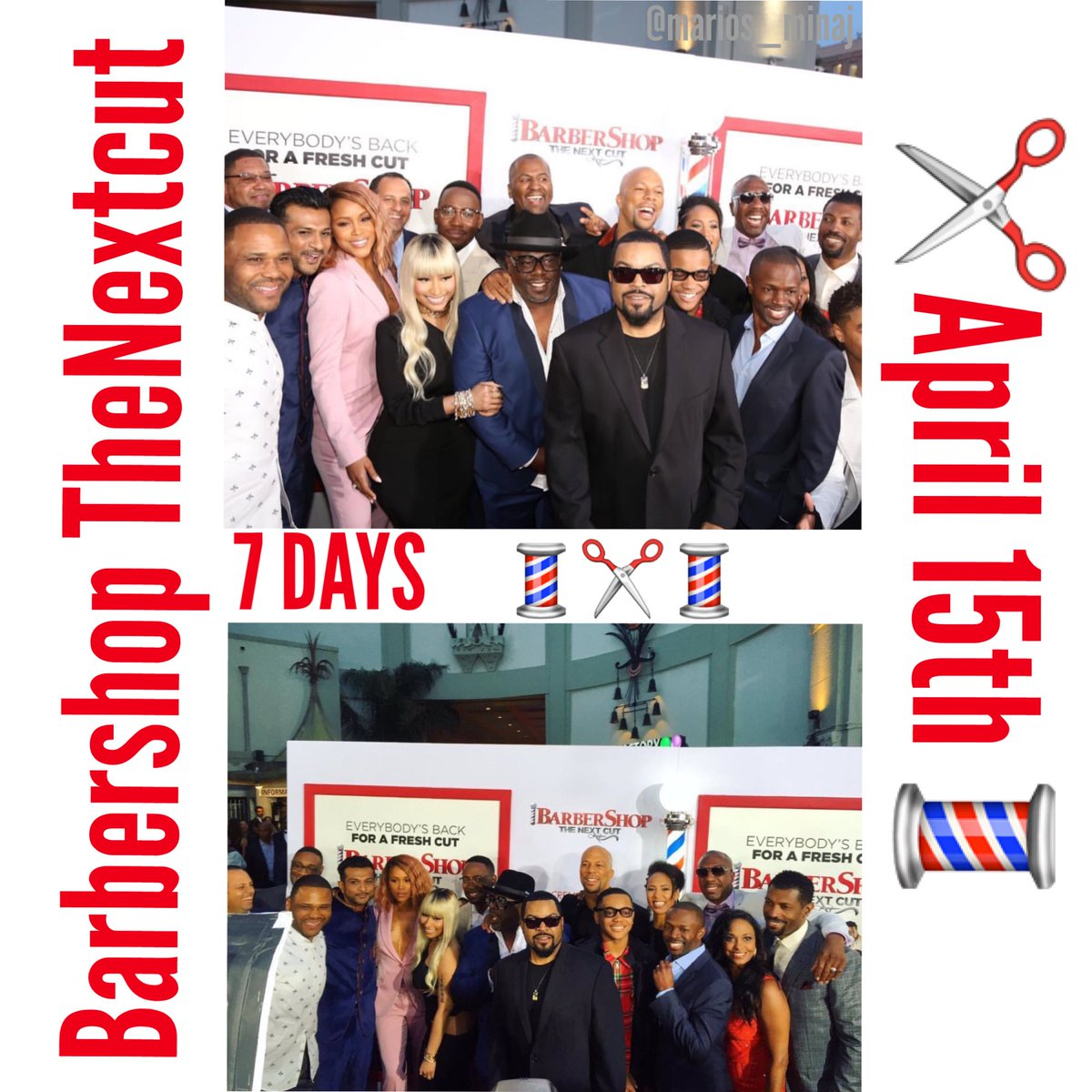 RT @marios_minaj: 7 more days for #BarberShopTheNextCut in Theaters ????✂️????✂️???? i can't wait fir this movie ???????????????? https://t.co/dX0B6qdARd