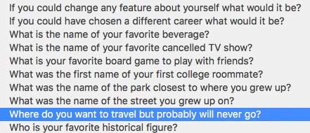 Security questions, no longer just a terrible idea, now they're vague and a little depressing: https://t.co/JmZQnVRTea