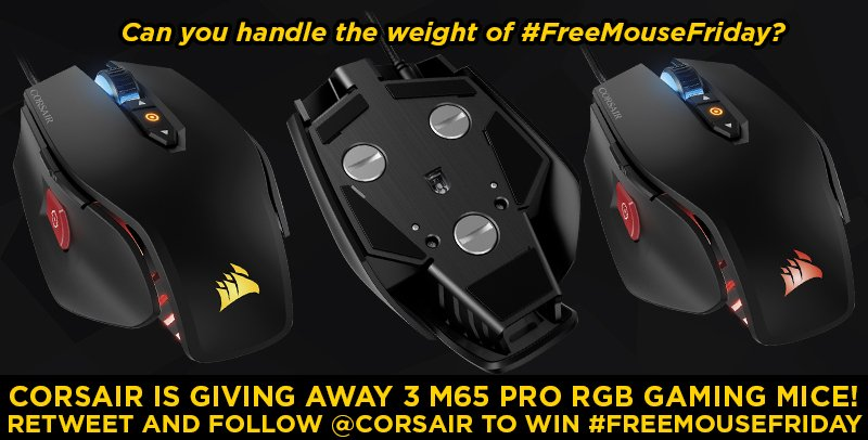 #FreeCodeFriday? More like #FreeMouseFriday! We're giving away THREE M65 Pro RGB mice! FOLLOW and RETWEET to enter! https://t.co/xroWMB9b61