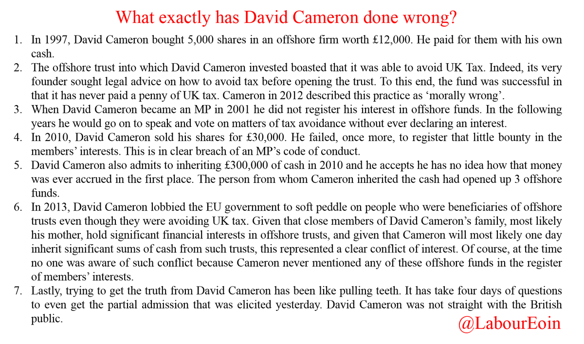Okay, let's clear this up. For those asking what exactly David Cameron has done wrong, I've just scribbled this down https://t.co/A94T4UAOXL