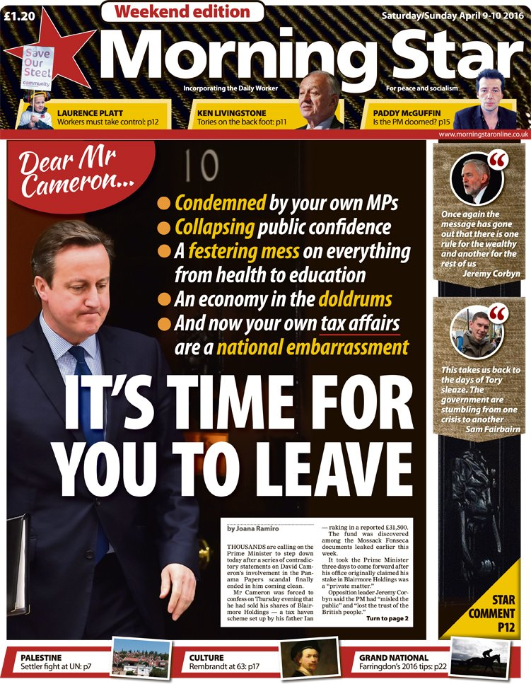 Saturday's front: Dear Mr Cameron… It's time for you to leave #CameronResign #tomorrowspaperstoday https://t.co/u9fviZfOHZ