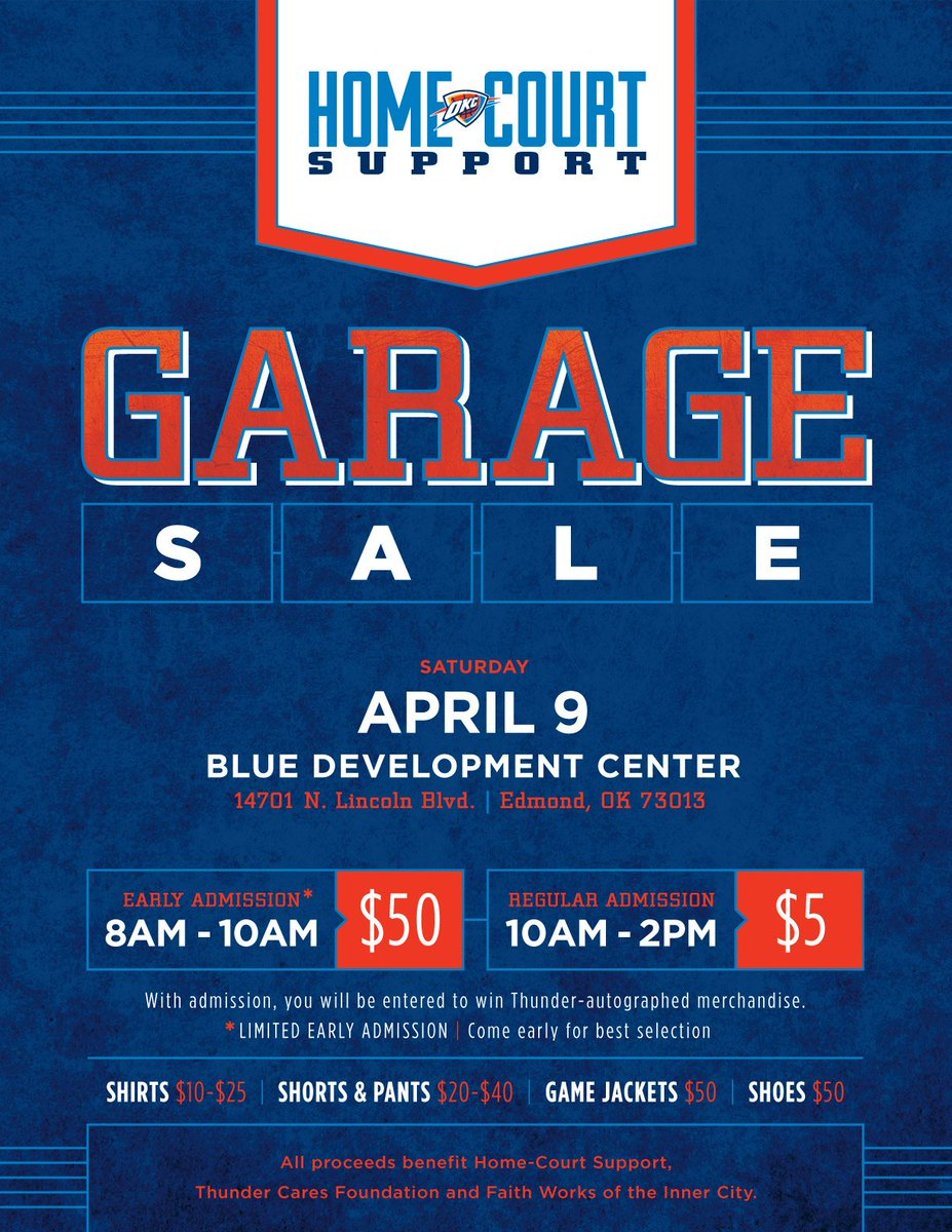 join us on saturday and purchase thunder apparel at our 2016 home