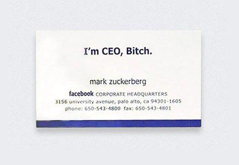 La Premire Carte De Visite Mark Zuckerberg Ce Nest Pas Une Blague