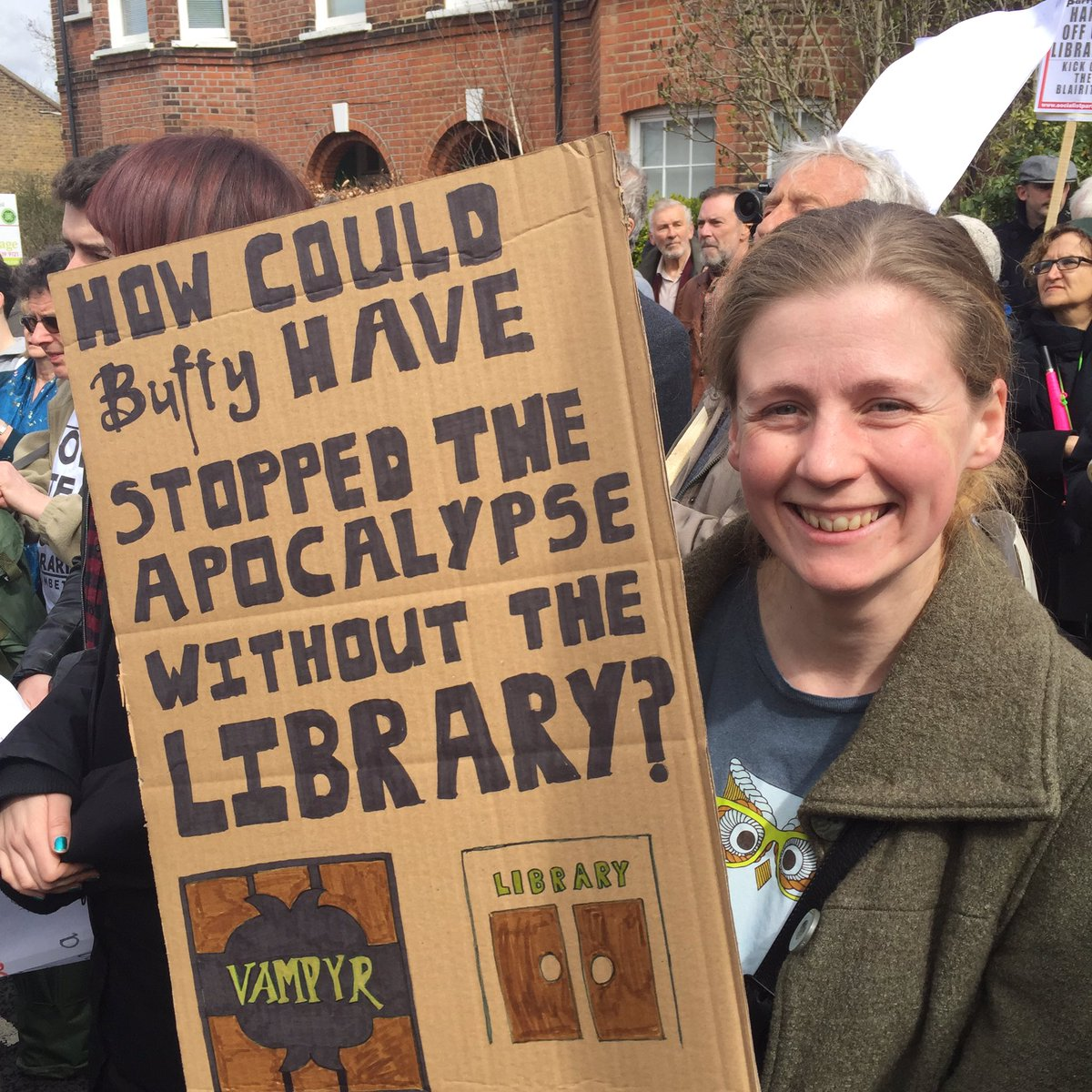 And winner of placard of the day goes to @DrSianF. Genius. #BuffyTheVampireSlayer #defendtheten #saveourlibraries https://t.co/XPxftEm1HK
