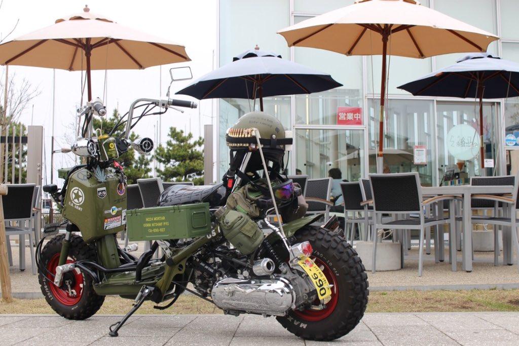 ばくおん‼に影響されて今日バイク買ってきました!店員さんに新車の原付でカーキ色でオートマ車を選んで頂きました!HONDA