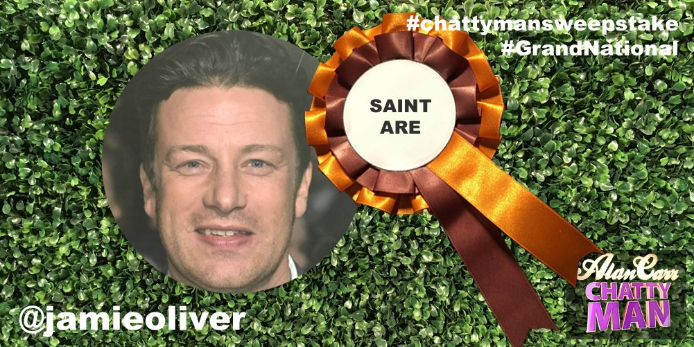 RT @chattyman: @jamieoliver Good luck with Saint Are in today's #GrandNational #chattymansweepstake! ???? https://t.co/XezEpEOOqq