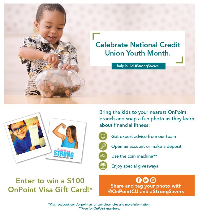 Bring the kids to an OnPoint branch to celebrate #CUYouthMonth! https://t.co/TBgGSI3S4S https://t.co/OS3rmf3FdI https://t.co/K0w6ogJsK8