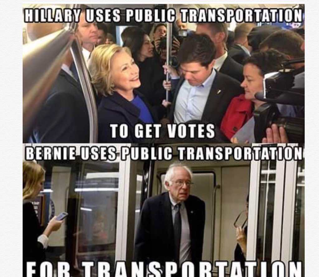 "Heads up Bernie supporters: that ""public transportation"" is tram that takes Senators from their offices to Capitol. https://t.co/ioBzJYEXBH"