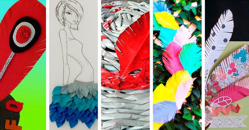 Cinco manualidades con plumas de papel