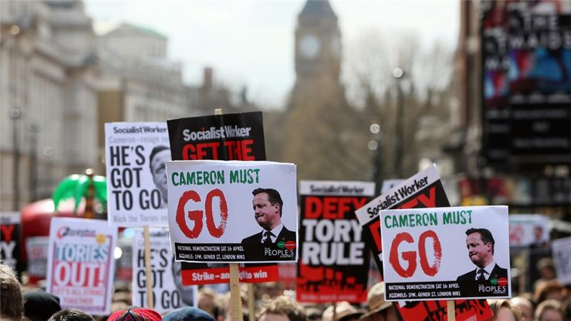 Protesters demand UK PM David Cameron's resignation after botched Panama Papers handling