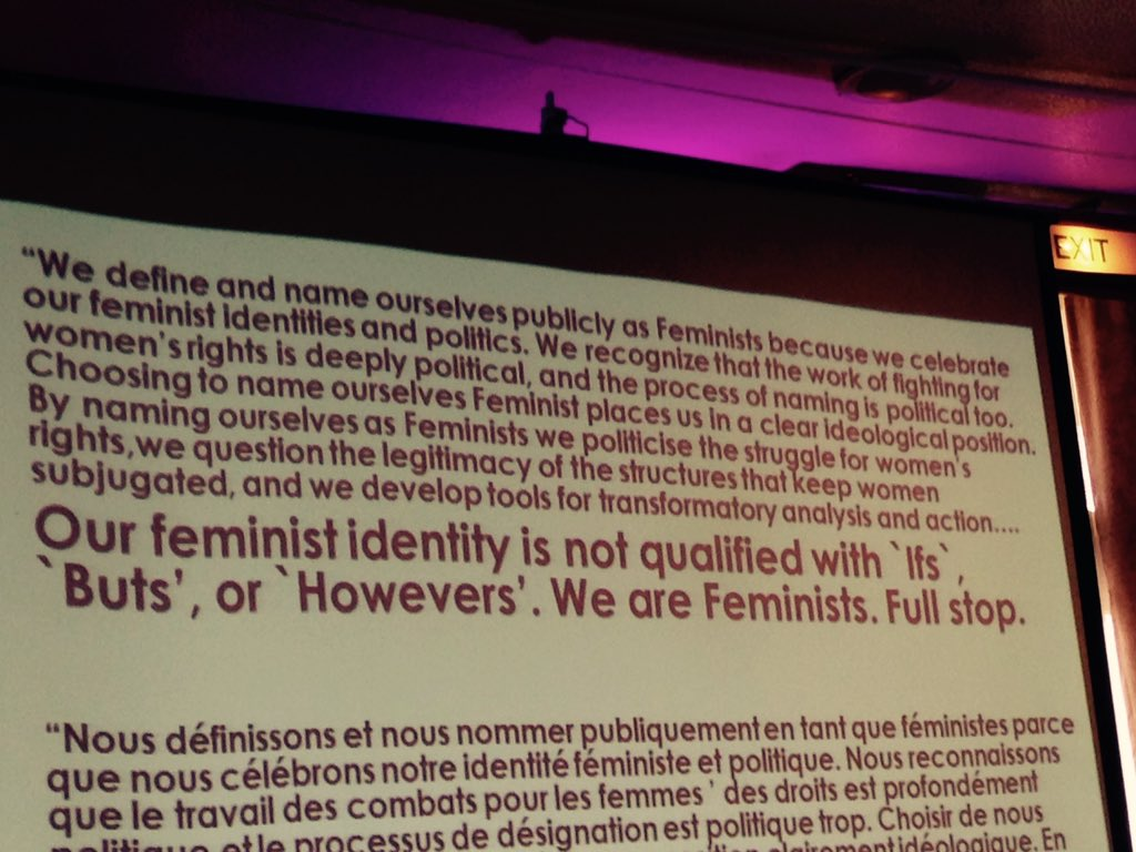 """""""We are feminists. Full stop."""" To those confused by the notion of African feminism ;)  @AFF001 #Afrifem #AFFZim https://t.co/lVy5sZG5SN"""