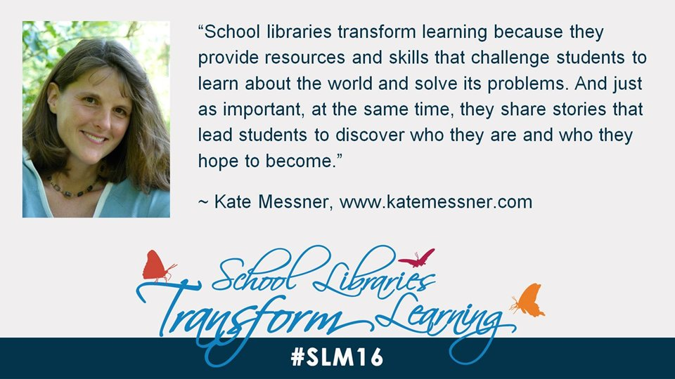 School libraries help students to discover who they are and who they hope to become, says @KateMessner. #slm16 https://t.co/eZO57EBP81