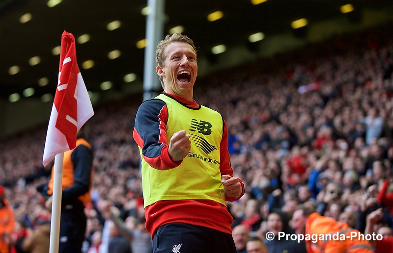 Lucas Leiva gives it large to the Stoke supporters