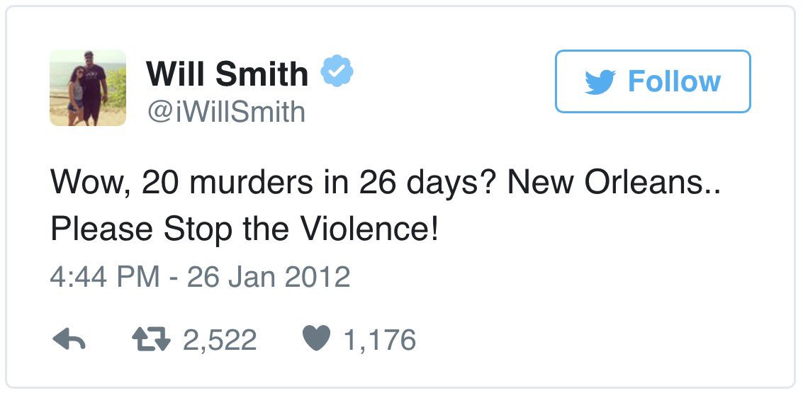 A tweet from former Saint Will Smith in 2012. Smith worked very hard to make NOLA a better place. So sad. @wdsu https://t.co/56WIqk4IAE