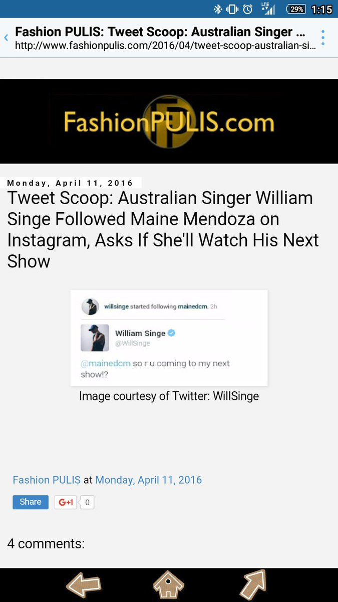 Aldub News Daily On Twitter April 11 2017 Fashion Pulis William Singe Started Following Maine Mendoza Instagram