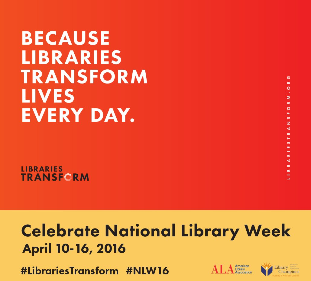 Because #LibrariesTransform lives every day. Celebrate National Library Week. #NLW16 https://t.co/3gLsD4kujn