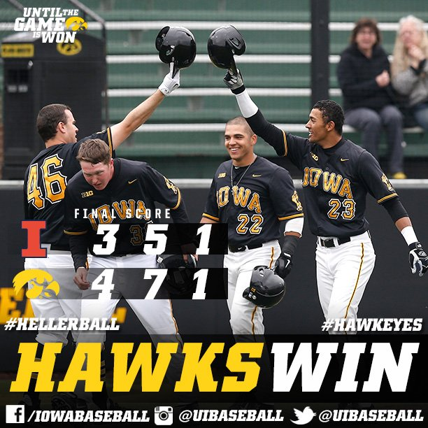 #Hawkeyes WIN, clinch series victory!  Booker has 4 RBIs, Gallagher gets W, Daniels the save!  #Until https://t.co/O5k9brVGjH