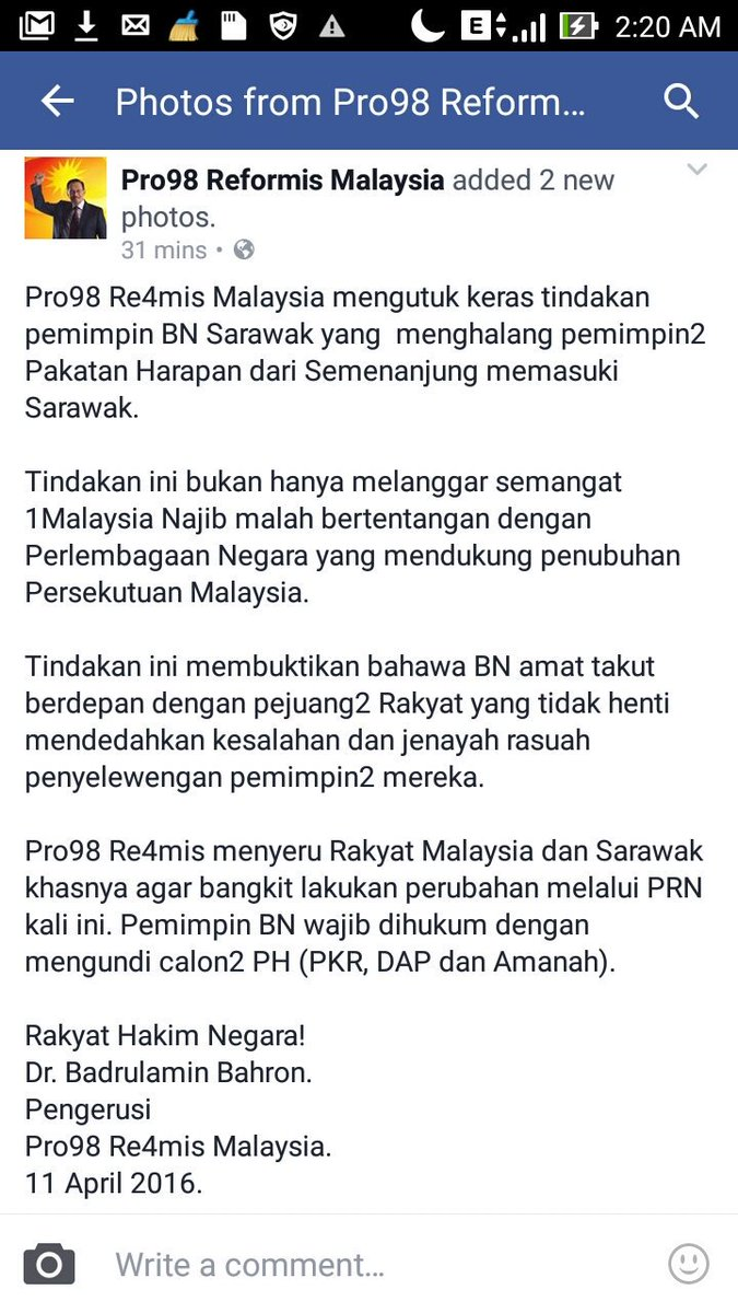 Bukankah Sarawak juga  negeri dalam Malaysia? Menghalang Ahli Parlimen Msia masuk sarawak adalah tidak masuk akal. https://t.co/5acrHBNkeV