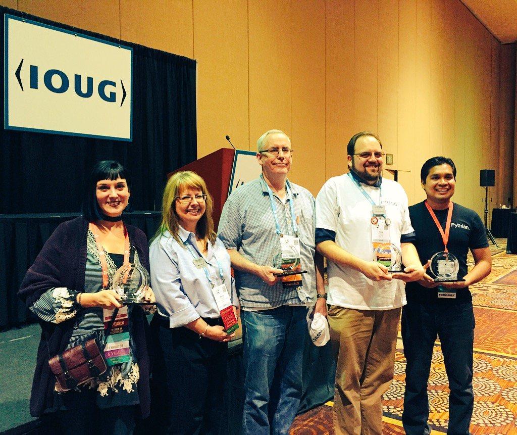 Congrats to IOUG's award winners! @DBAKevlar @ggordham #C16LV https://t.co/glfiBLfcmC